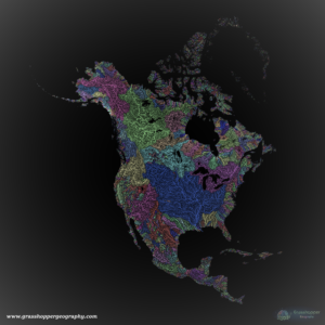 Une carte de Grasshopper Geography des bassins versants, crée par Robert Szucs